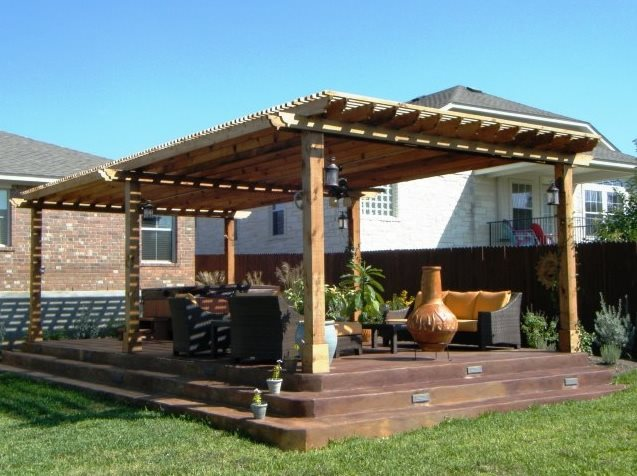 Large Wooden Pergola Pergola and Patio Cover Lone Star Land Design Austin, TX