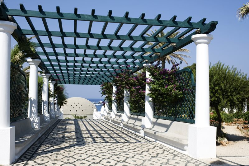 Mediterranean Pergola, White Columns Pergola and Patio Cover Landscaping Network Calimesa, CA