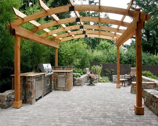 Outdoor Cooking Area Arched Pergola And Patio Cover All Oregon Landscaping Inc Sherwood