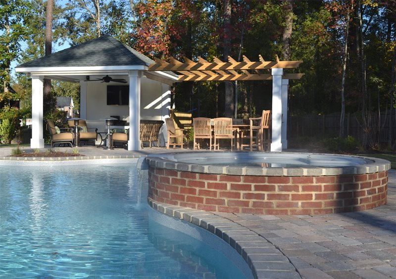 Pergola, Cabana, Tv, Surround Sound, Outdoor Dining, Spa Pergola and Patio Cover TG&R Landscape Group Charlotte, NC