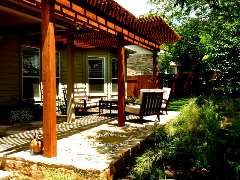Redwood Attached Patio Cover Pergola and Patio Cover GreenScapes Landscaping and Pools Austin, TX
