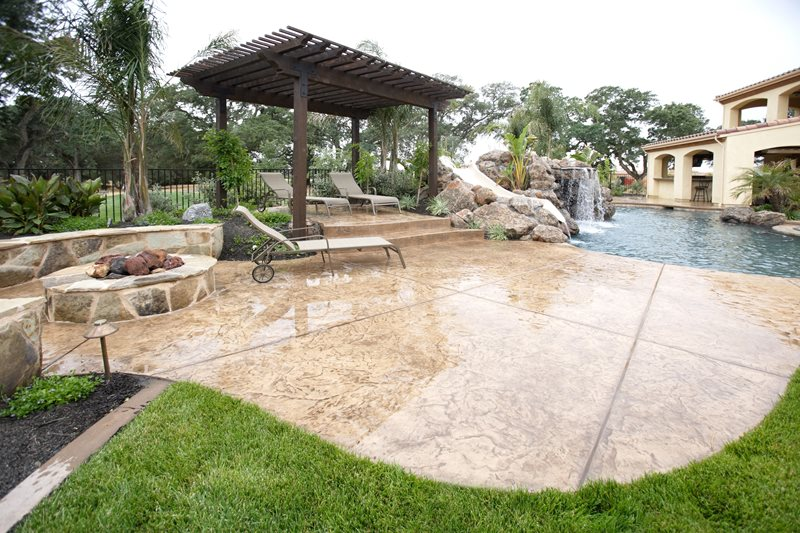 Stamped Concrete Pool Deck, Dark Brown Pergola Pergola and Patio Cover Landscaping Network Calimesa, CA