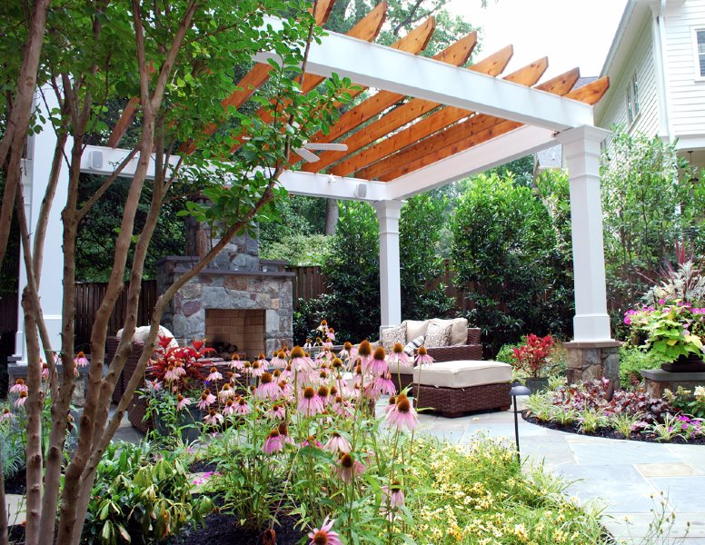 Stone Fireplace, Patio Cover, Traditional Pergola and Patio Cover Botanical Decorators Olney, MD