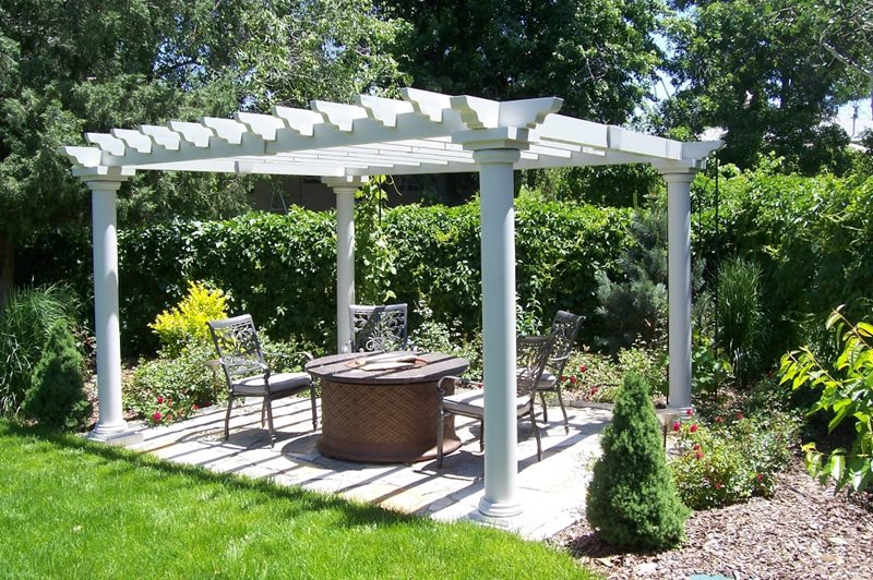 White Pergola Pergola and Patio Cover Black Forest Landscape Design Studio Arvada, CO