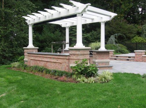 White Pergola Pergola and Patio Cover Cipriano Landscape Design Mahwah, NJ