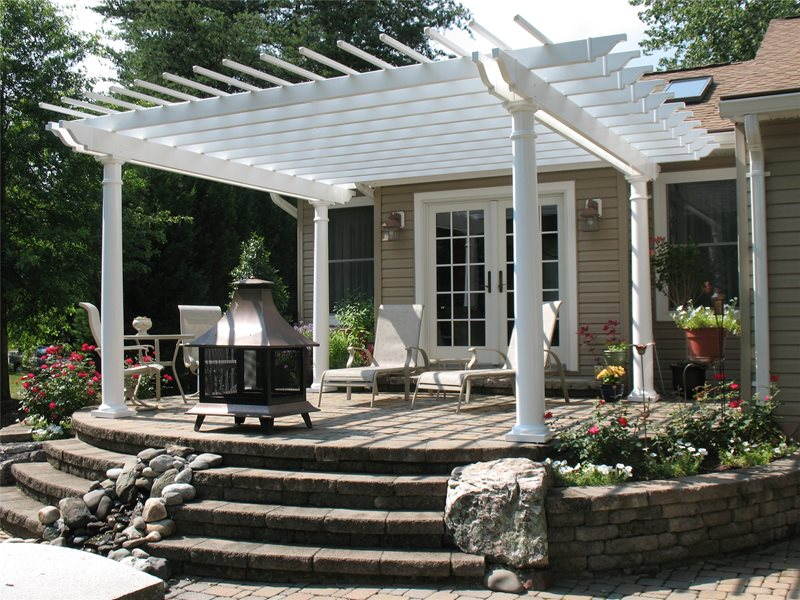 White Pergola, Raised Pergola Pergola and Patio Cover Continental Landscaping Severn, MD