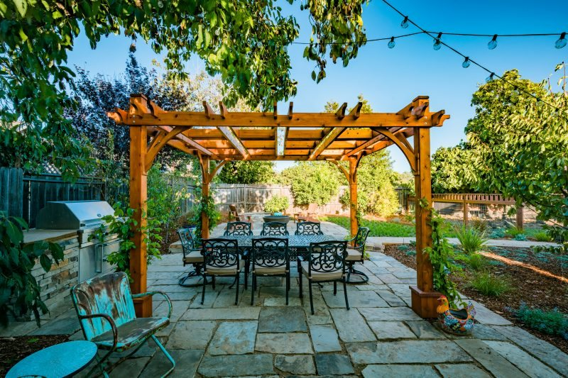 Wood Pergola, Outdoor Dining Pergola and Patio Cover Greener Environments Los Osos, CA