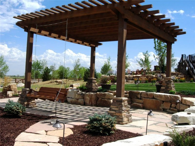 Wooden Pergola Swing And Patio Cover Lindgren Landscape Fort Collins Co