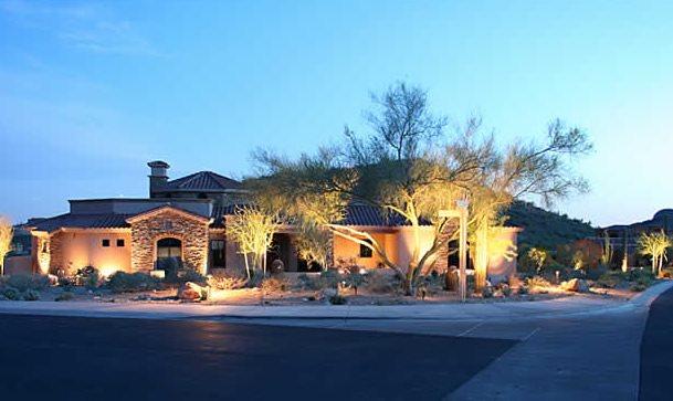 Front Yard, Landscape Lighting Phoenix Landscaping Alexon Design Group Gilbert, AZ