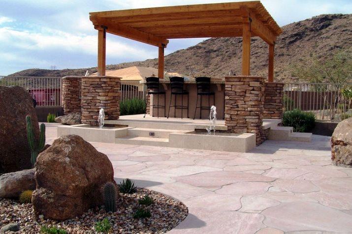 Pergola Stone Columns Phoenix Landscaping Unique Landscapes by Griffin Mesa, AZ