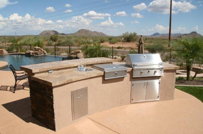 Split Level Outdoor Kitchen Phoenix Landscaping Unique Landscapes by Griffin Mesa, AZ