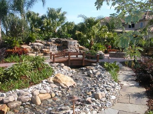 Bridge, Pond Pond and Waterfall Landscaping Network Calimesa, CA