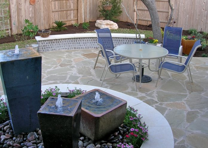 Custom Patio Fountain Pond and Waterfall Design My Yard Austin, TX