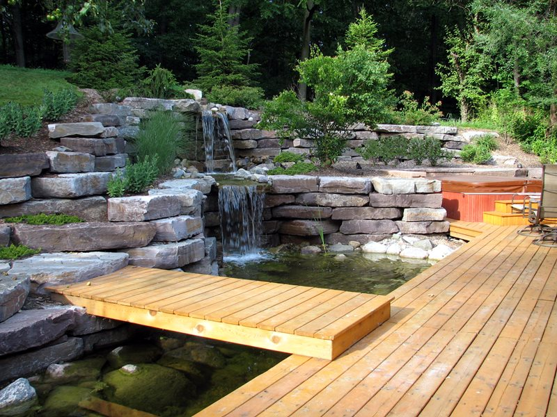 Garden Waterfall, Stone Waterfall Pond and Waterfall Miller Landscape, Inc. Orion, MI