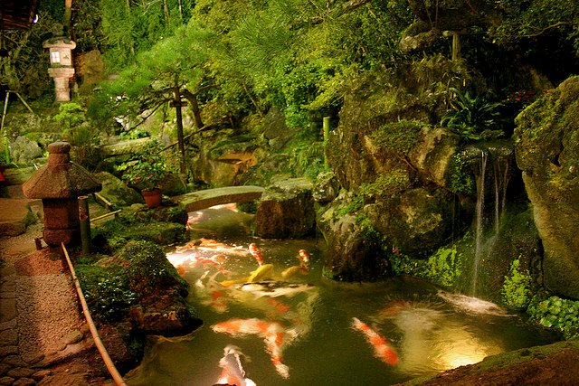 pond lighting ideas. Koi Pond Asian Lantern Moss And Waterfall Zoen Sekkeisha Lighting Ideas