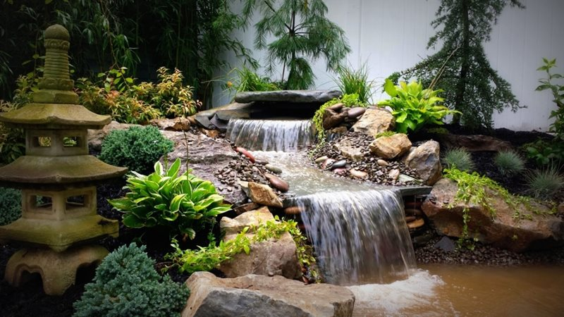 Pond and waterfall massapequa ny photo gallery for Fish pond fountain design