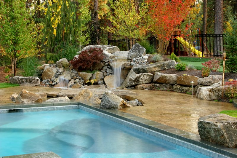 Natural Backyard Waterfall Pond and Waterfall Copper Creek Landscaping, Inc. Mead, WA