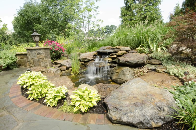 Naturalistic Waterfall Pond and Waterfall Rice's Landscaping Redefined Canton, OH