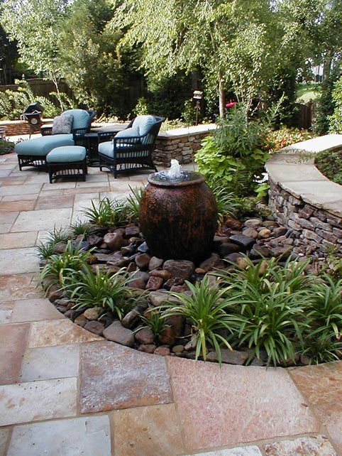Pondless Backyard Fountain Pond and Waterfall Madison Planting and Design Group Canton, MS