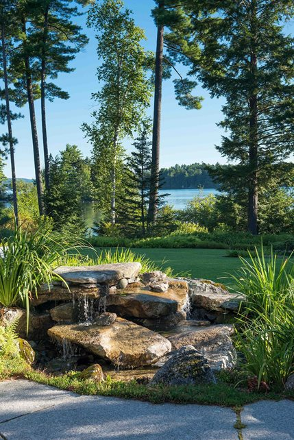 Pondless, Stone Water Features Pond and Waterfall Pellettieri Associates Warner, NH
