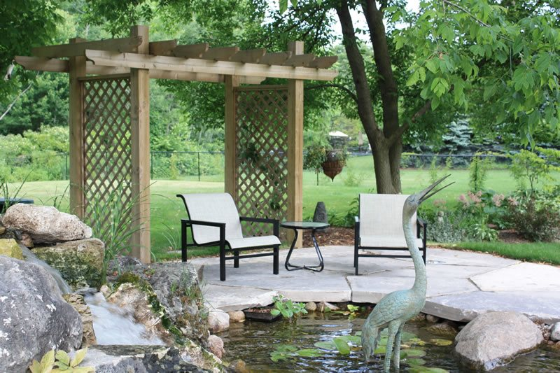 Small Lattice Pergola, Pond Patio Pond and Waterfall LADS-Landview Architectural Design Sequences Burlington, ON