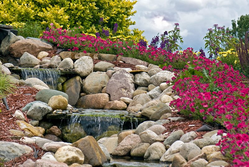 Tiered Rock Waterfall Pond and Waterfall Landscaping Network Calimesa, CA