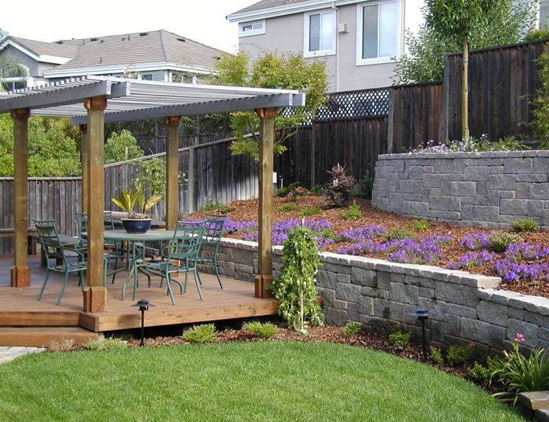 Backyard Deck, Block Walls, Wood Pergola Retaining and Landscape Wall Cyprex Construction Landscapes San Jose, CA