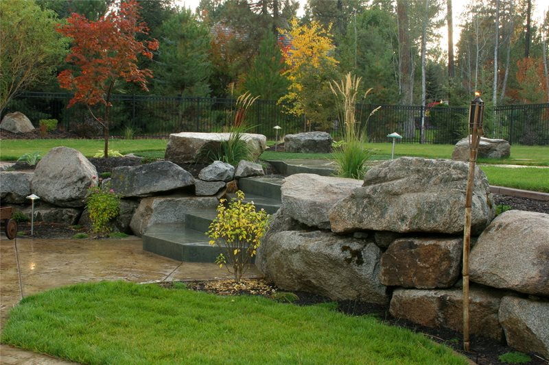 Boulder Landscape Wall Retaining and Landscape Wall Copper Creek Landscaping, Inc. Mead, WA