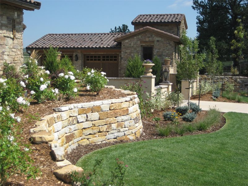 Silioam Stone Retaining Walls Retaining and Landscape Wall Accent Landscapes Colorado Springs, CO