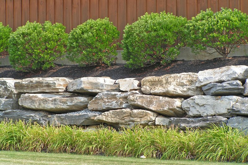 Stacked Boulder Wall Retaining and Landscape Wall Landscaping Network Calimesa, CA