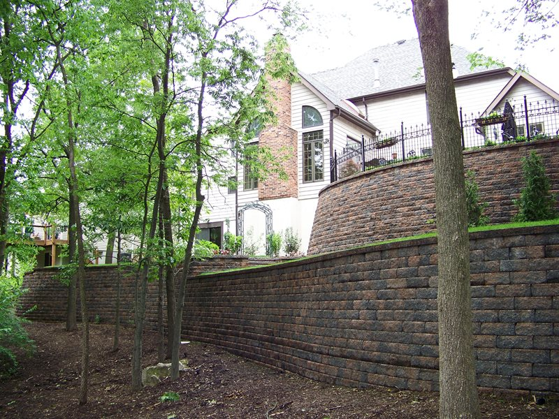 Tall Retaining Walls, Backyard Terracing Retaining and Landscape Wall Action Landscaping, Inc. Imperial, MO