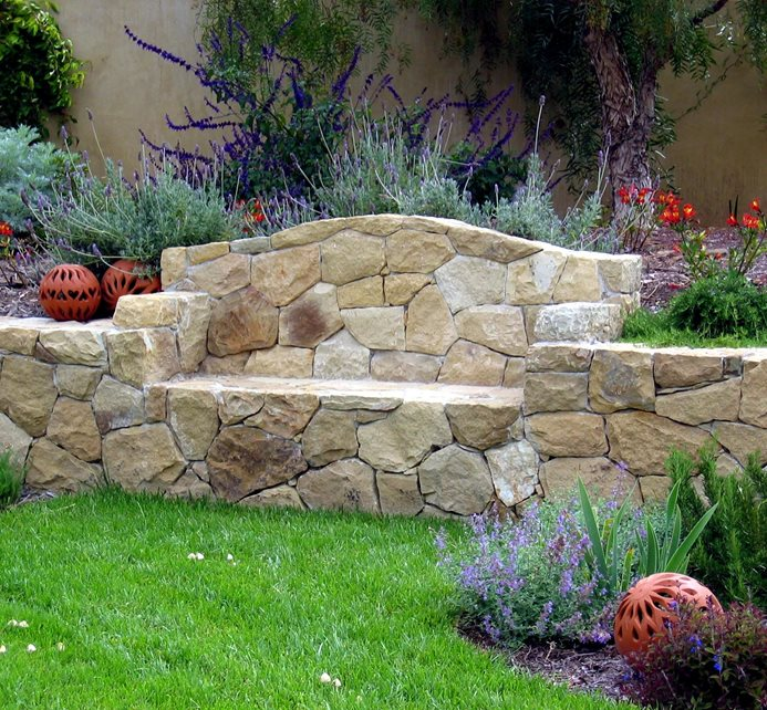 Wall With Seating Area Retaining and Landscape Wall Grace Design Associates Santa Barbara, CA
