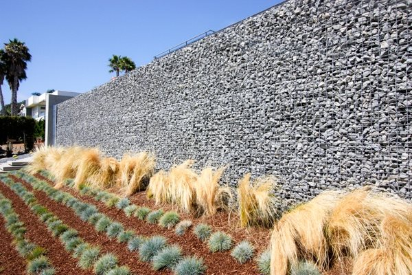Tall Gabion, Gabion Wall San Diego Landscaping Grounded Landscape  Architecture And Planning Encinitas, CA
