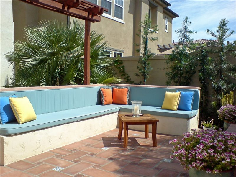 Built In Backyard Fireplace Bench Seating Area Studio H Landscape Architecture Newport Beach, CA