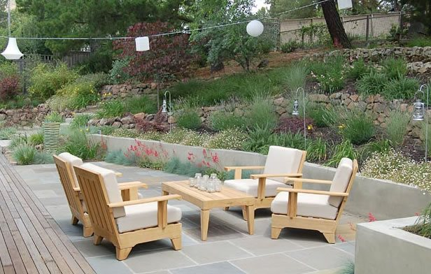 Patio Furniture, Terraced Hillside Seating Area Huettl Landscape Architecture Walnut Creek, CA