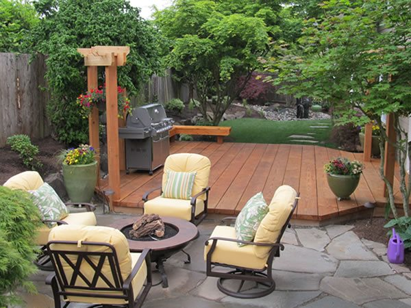 Ground Level Deck, Bbq, Fire Pit, Flagstone Seattle Landscaping Stock & Hill Landscapes, Inc Lake Stevens, WA