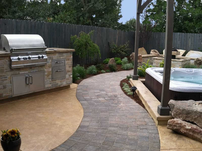Curved Paver Path, Built In Grill Simple Built-in Barbecues The Garden Artist, LLC Boise, ID