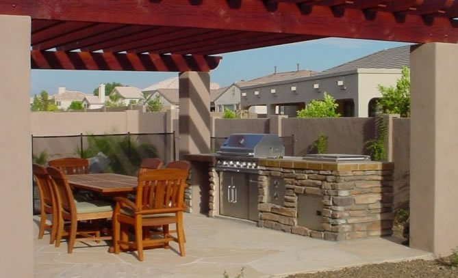 Flagstone, Grill, Pavers, Tan Simple Built-in Barbecues Desert Crest, LLC Peoria, AZ