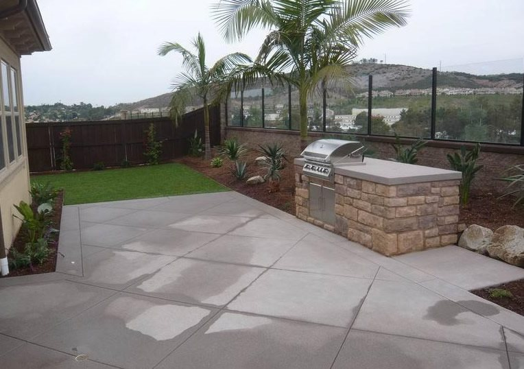 Small Grill, Built In, Concrete Simple Built-in Barbecues Quality Living Landscape San Marcos, CA