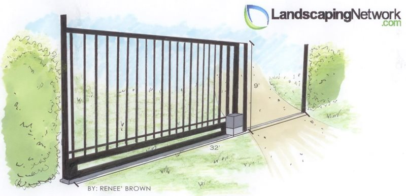 Sliding Gate Drawing Landscaping Network Calimesa, CA