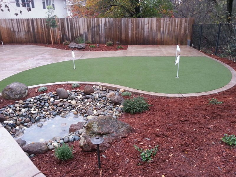 Small Backyard With Putting Green Small Yard Landscaping River City Landscaping, Inc. Roseville, CA