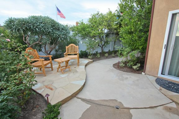 Small Patio, Small Backyard, Concrete Patio Small Yard Landscaping DC West Construction Inc. Carlsbad, CA