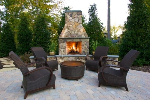 Outdoor Fireplace Hearth Southeast Landscaping Turftenders Landscape Services Raleigh Nc