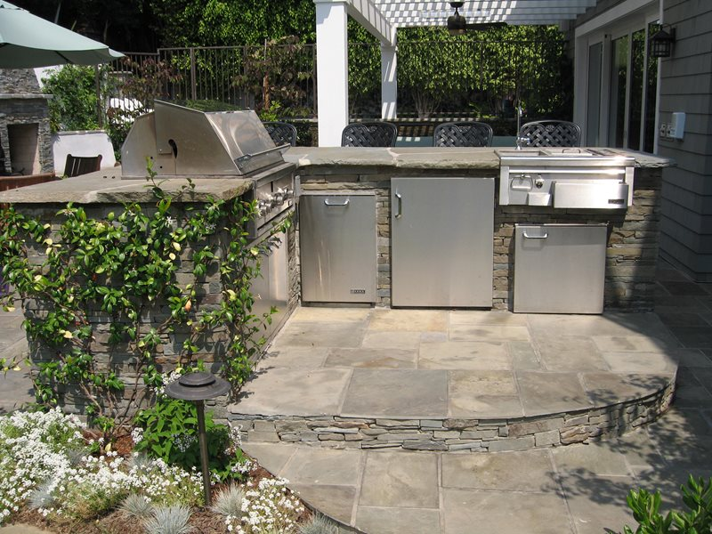 Bluestone Bbq, Outdoor Wet Bar Southern California Landscaping Stout Design Build Los Angeles, CA