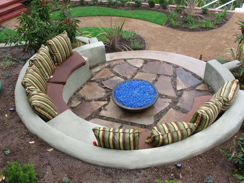 Built In Fire Pit Benches Southern California Landscaping Promised Path Landscape Inc. Chula Vista, CA