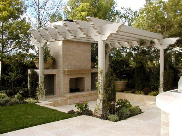 Pergola And Fireplace Southern California Landscaping AMS Landscape Design Studios Newport Beach, CA