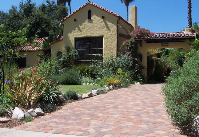 Spanish Front Yard, Driveway Paving Stones Southern California Landscaping  Genesis Stoneworks Moorpark, CA