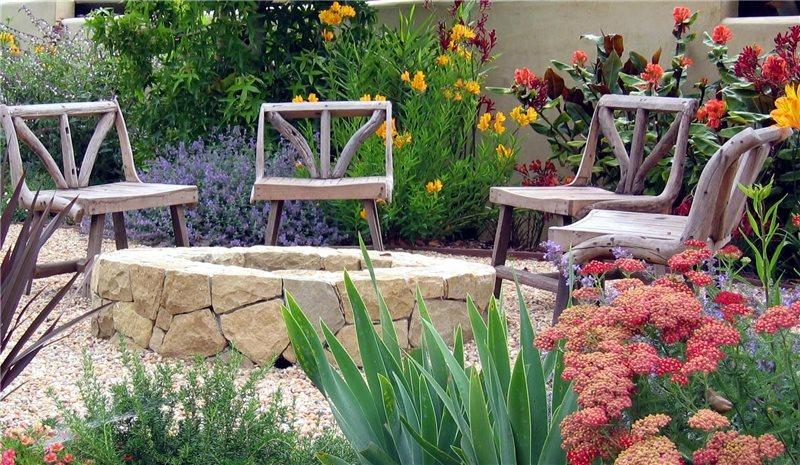 Stone Fire Pit Southern California Landscaping Grace Design Associates Santa Barbara, CA