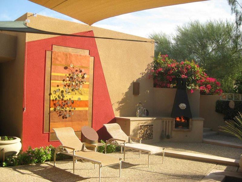 Backyard Art Southwestern Landscaping John Vogley Landscape Arch Palm Desert, CA