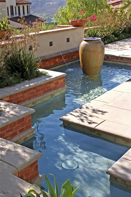 Patio Water Feature, Patio Fountain Southwestern Landscaping AMS Landscape Design Studios Newport Beach, CA